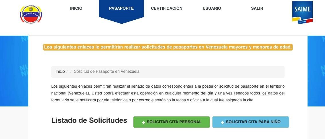 Cita del pasaporte para adulto o niño
