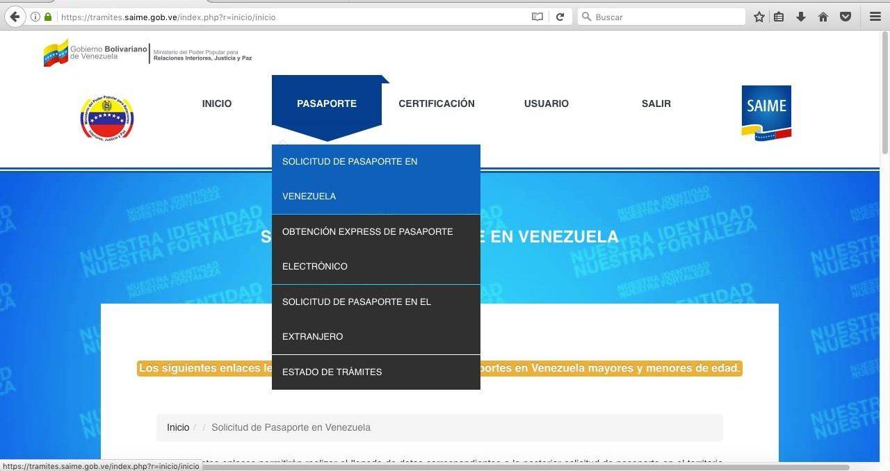 Solicitud del pasaporte