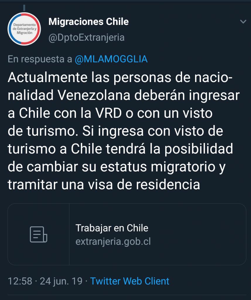 Migración Chile informa que todavia se puede cambiar el estatus migratorio estando en Chile