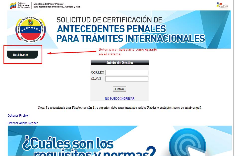 boton para registrarse y solicitar antecedentes penales venezolanos