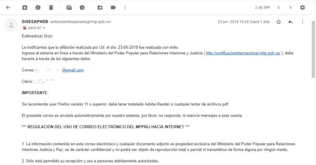 Email enviado por el sistema para solicitar antecedentes penales venezolanos