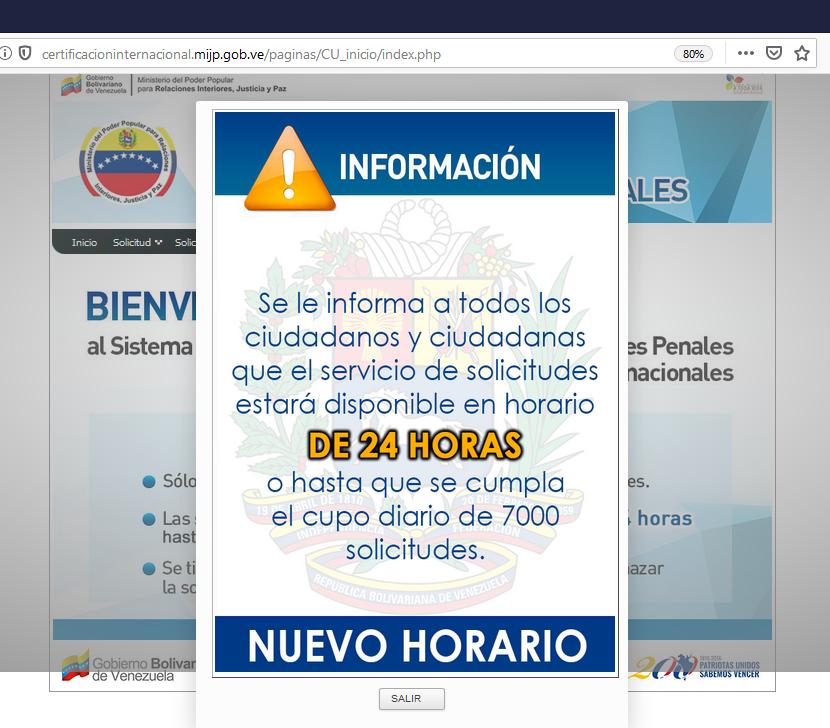 Inicio del sistema para solicitar antecedentes penales venezolanos