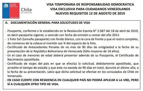 documentos generales para solicitar visa de responsabilidad democratica