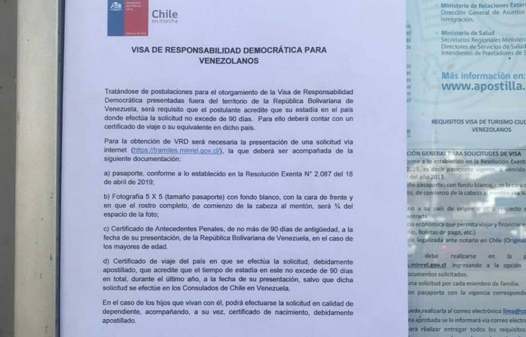 Docuemnto en el consulado de lima sobre visa de responsabilidad democratica
