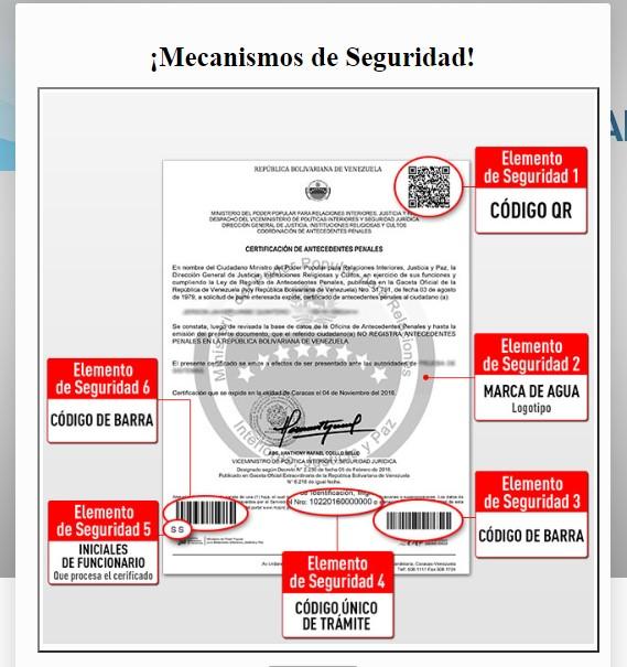 Elementos de seguridad para validar antecedentes penales venezolanos