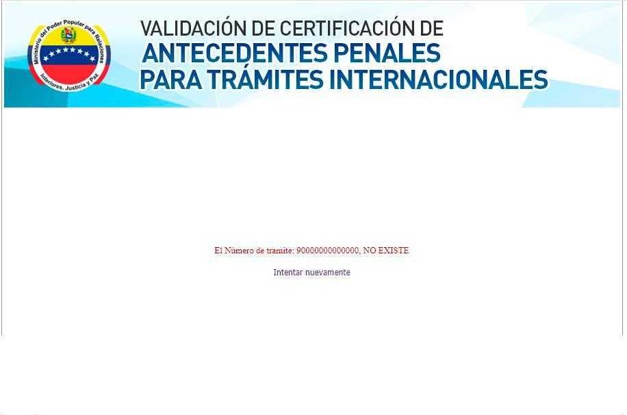 Resultado de validar antecedentes penales venezolanos cuando el numero de tramite no existe