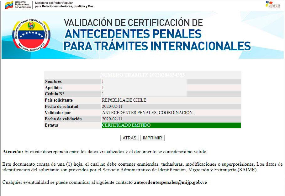 Resultado de validación de antecedentes penales Venezolano