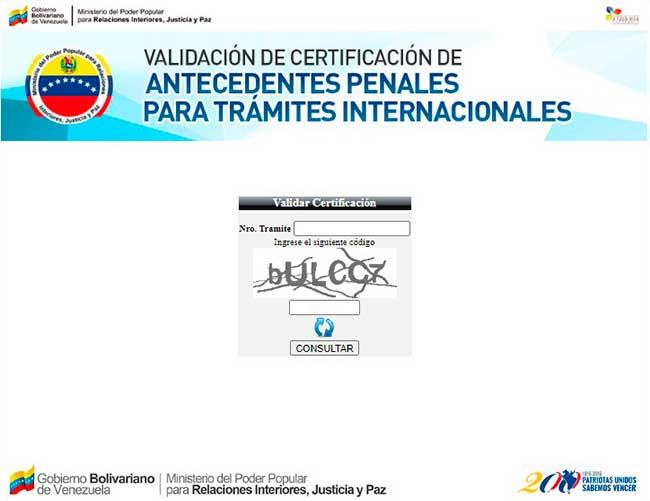 Formulario de validación de certificaciones
