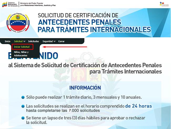 Botón para iniciar la solicitud de antecedentes penales venezolanos