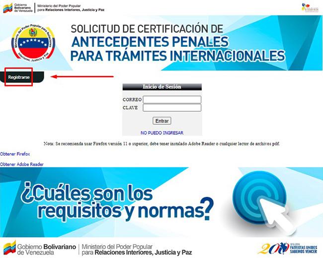Botón para registrarse en el sistema de antecedentes penales venezolanos