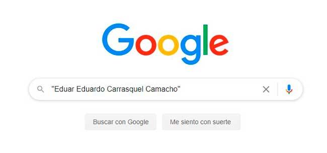 Escribir nombre entre comillas en google
