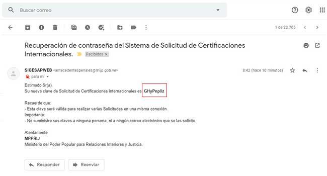 Recuperación de contraseña del sistema de solicitud de certificaciones internacionales