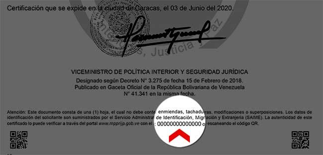 Código único del trámite de antecedentes penales venezolanos