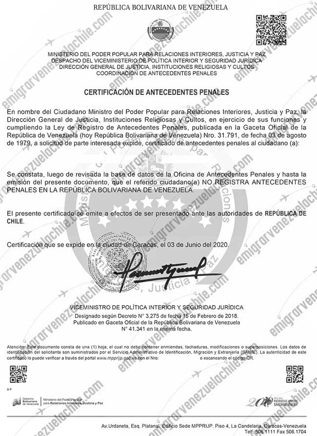 Ejemplo de un antecedente penal venezolano