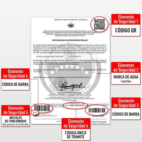 Elementos de seguridad del antecedente penal venezolano