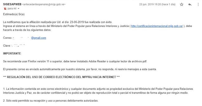 Notificación enviada al correo por el sistema para solicitar antecedentes penales venezolanos cuando se realiza el registro de usuario de forma exitosa