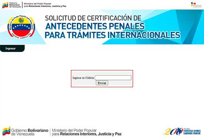 ingresar cédula de identidad sistema de certificaciones de antecedentes penales venezolano