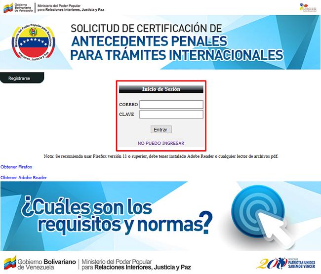 Formulario para iniciar sesión en el sistema de antecedentes penales venezolanos