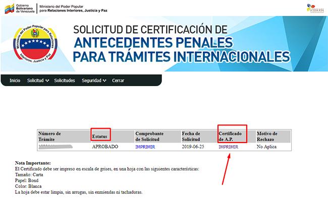 Modulo de certificaciones internacionales de antecedentes penales venezolanos.