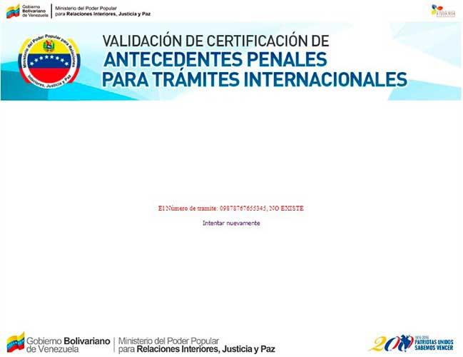 No existe el número del trámite único del antecedentes penal venezolano