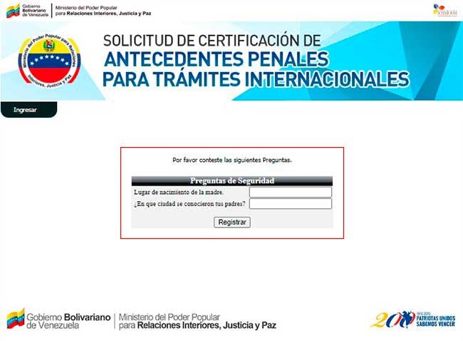 Preguntas de seguridad del sistema de antecedentes penales venezuela