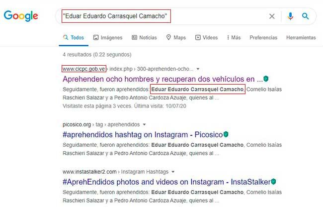 Resultado de búsqueda en Google