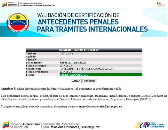 Resultado de validar antecedentes penales venezolanos