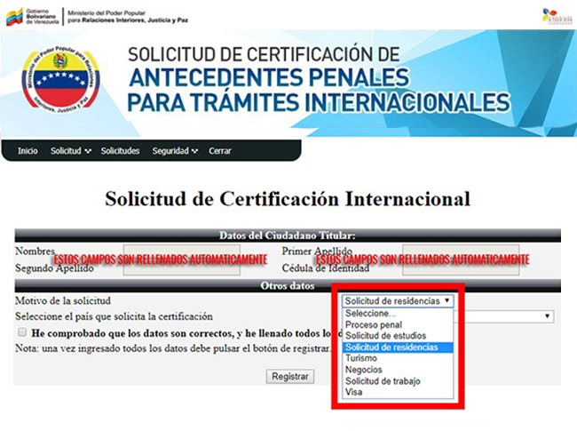 Formulario de solicitud de certificación internacional con la lista de motivos de solicitud desplegada.