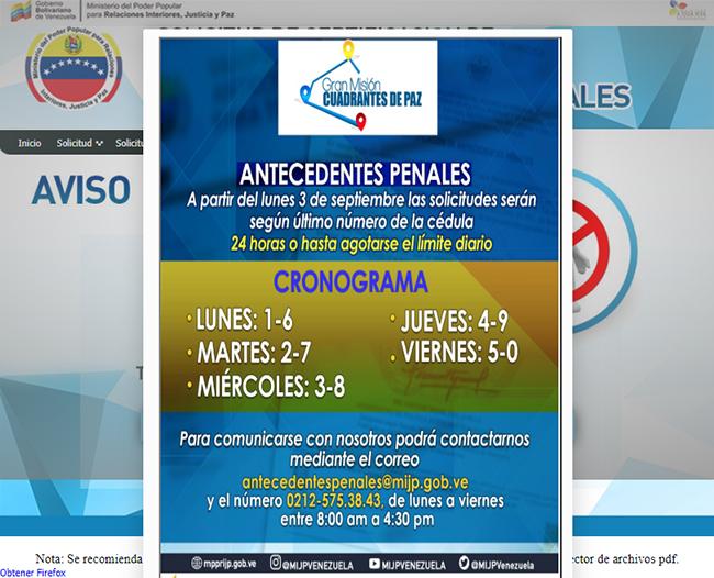 Cronograma para hacer solicitudes de antecedentes penales venezolanos
