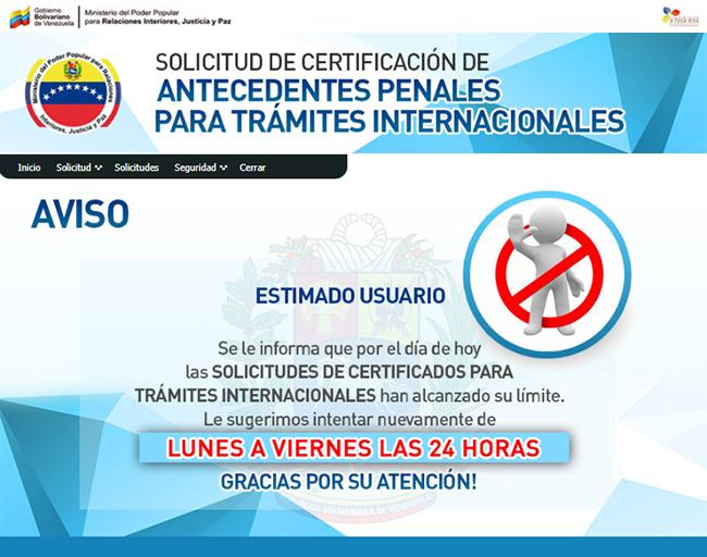 Mensaje notificando que las solicitudes de certificados para tramites internacionales han alcanzado su limite.