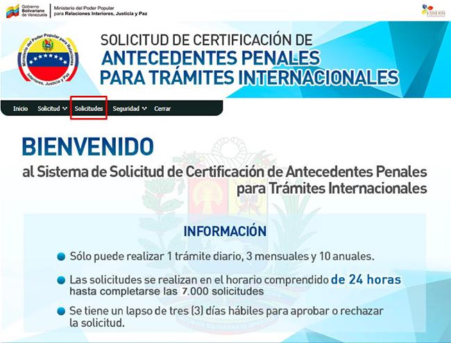 Botón para ingresar al modulo de solicitudes del sistema de certificaciones internacionales de antecedentes penales venezolanos.