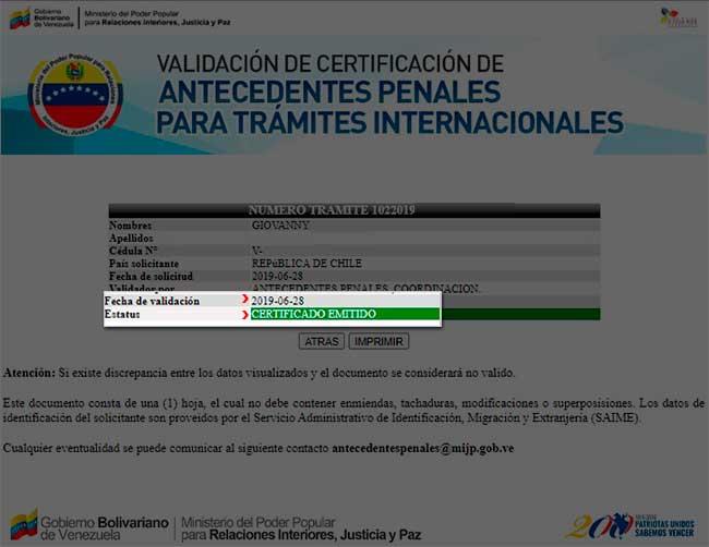 Estatus emitido fecha de validación 2019-06-28