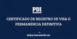 Certificado de registro de visa o permanencia definitiva