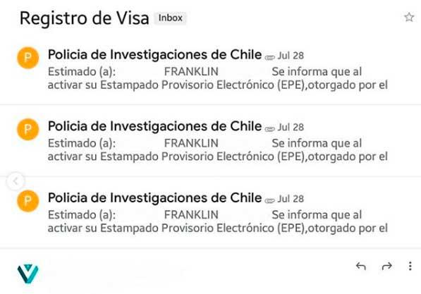 Certificado de registro de visa en el correo PDI